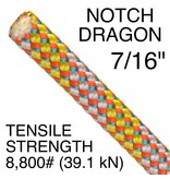"""NOTCH Dragon 7/16"""" x 150' with One End Grizzly Spliced (GS)"""