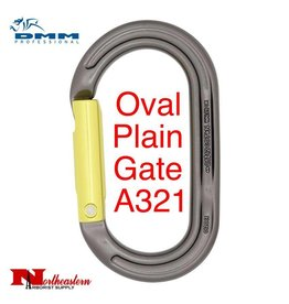 DMM Carabiner, Oval Plain Gate, Accs. 24Kn Not PPE Titanium/Lime Color