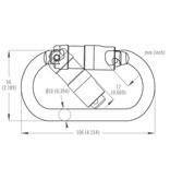 DMM 10mm Steel Oval Kwiklock ANSI, Carabiner, 30Kn Light Gold Color