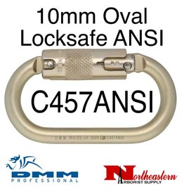 DMM 10mm Steel Oval Locksafe ANSI, Carabiner, 30Kn Light Gold Color