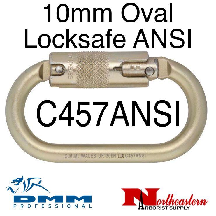 DMM 10mm Steel Oval ANSI Locksafe, Carabiner, 30Kn Light Gold Color