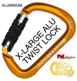 KONG Carabiner, X-LARGE Aluminium Twist Lock, Orange/Black
