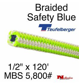 "Teufelberger Braided Ultra Vee Safety Blue, 1/2"" x  120', 5,800# MBS"