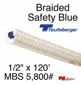 """Teufelberger Braided White Safety Blue, 1/2"""" x  120', 5,800# MBS"""