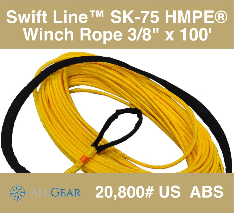 "All Gear Inc. Swift Line™ Winch Rope 3/8"" x 100' with 1 Eye, Coated 20,800# ABS"