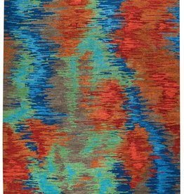 """8344: Borealis Pacific Fire<br>Style: Contemporary<br>Size: 8'0""""x10'0""""""""<br>Content: 100% Handspun wool<br>Weave: Hand Knotted<br>Origin: Nepal"""