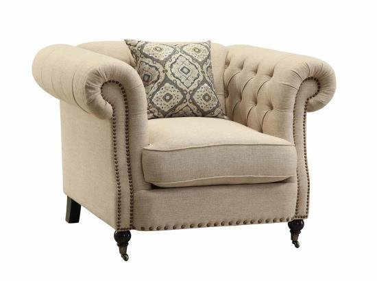 Trivellato Oatmeal Tufted Accent Chair