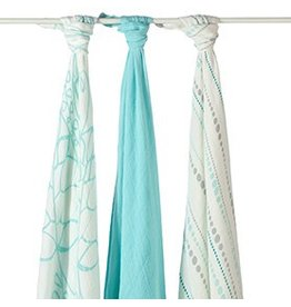 Aden + Anais Azure Bamboo Swaddle Blankets
