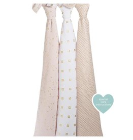 Aden + Anais A+A Classic 3 Pack Swaddle Blankets- Metallic Primrose