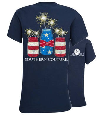 Southern Couture Southern Couture Yth Short Sleeve Tee- Mason Jar Sparklers