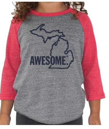 Great State Apparel MI Awesome Kids Baseball T