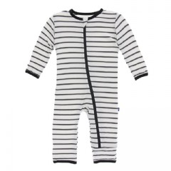 Kickee Pants Coverall Zip Neutral Parisian Stripe