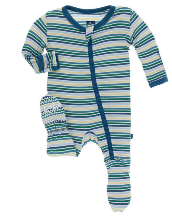 Kickee Pants Footie w/zipper Boy Perth Stripe