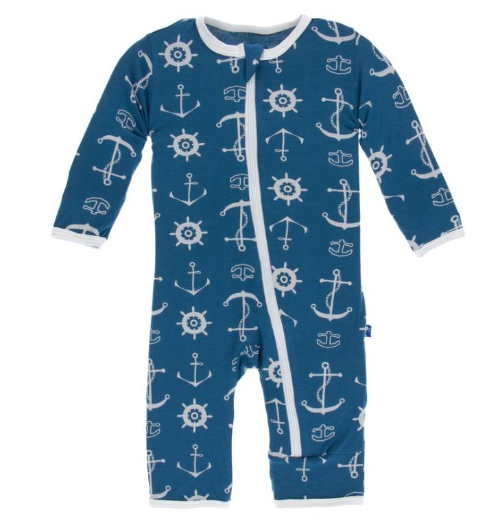 Kickee Pants Coverall w/zipper Twilight Anchor