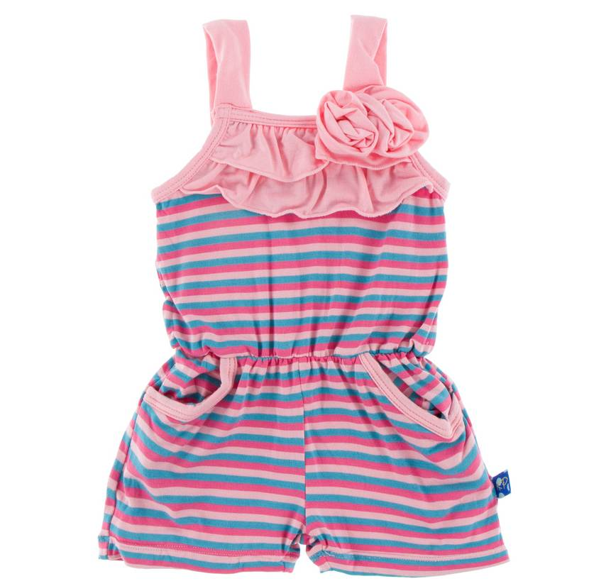 Kickee Pants Flower Romper with Pocket -Flamingo Anniversary Stripe