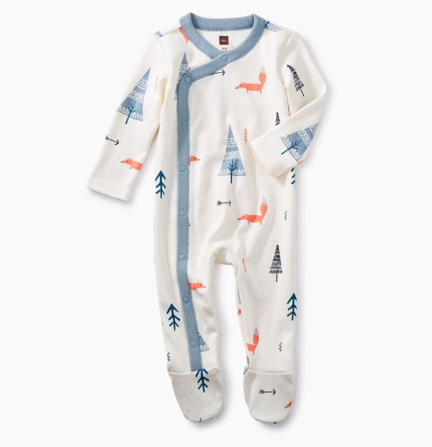 tea collection Footed Romper Forest Friends