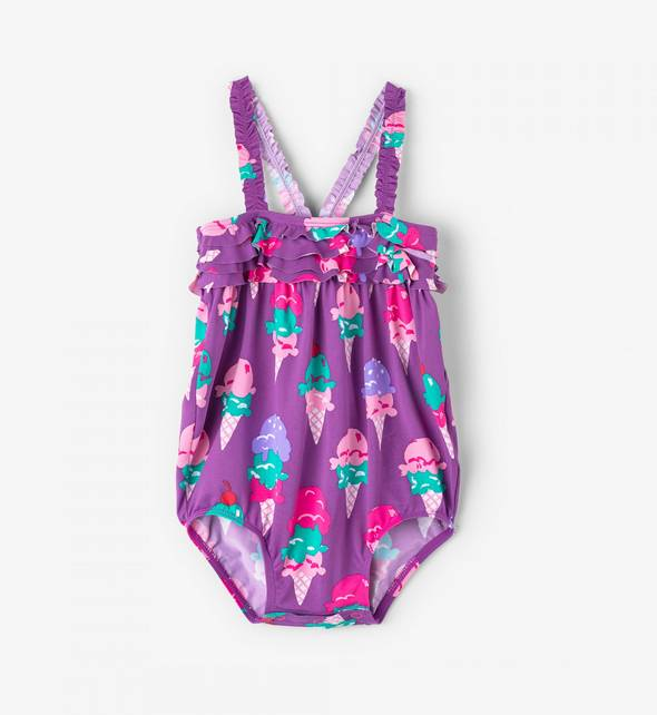 Hatley Ice Cream Mini Ruffle Swimsuit