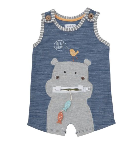 Mudpie Hippo Zipper Mouth Romper