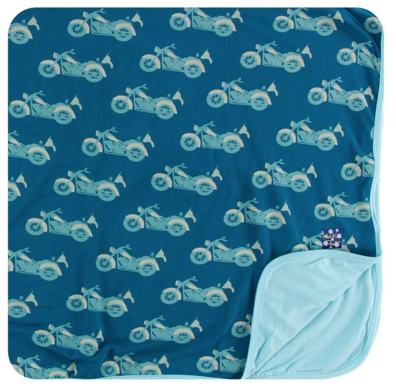 Kickee Pants Blue Motorcycle Toddler Blanket
