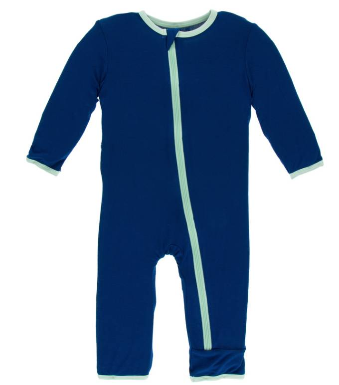 Kickee Pants Flag Blue w/Pistachio Coverall