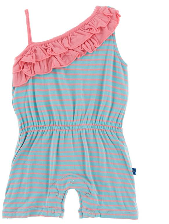 Kickee Pants Strawberry Stripe Ruffle Romper