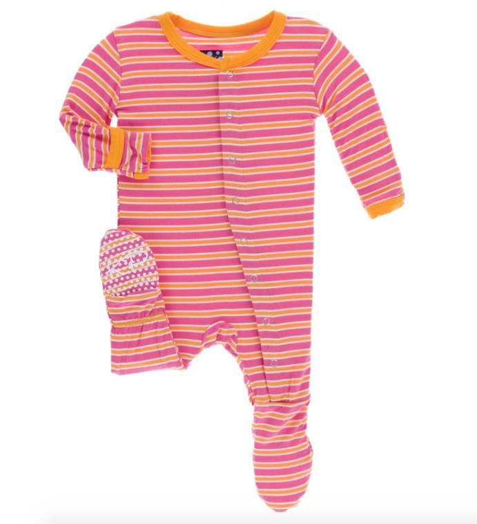 Kickee Pants Flamingo Brazil Stripe Footie