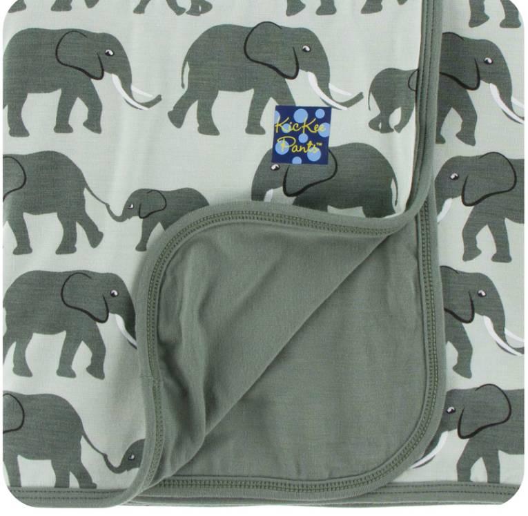 Kickee Pants Aloe Elephants Swaddle Blanket