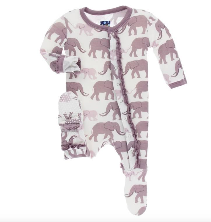 Kickee Pants Natural Elephants Ruffle Footie