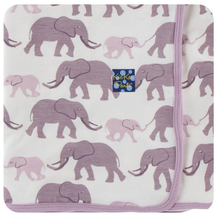 Kickee Pants Natrual Elephants Swaddle Blanket