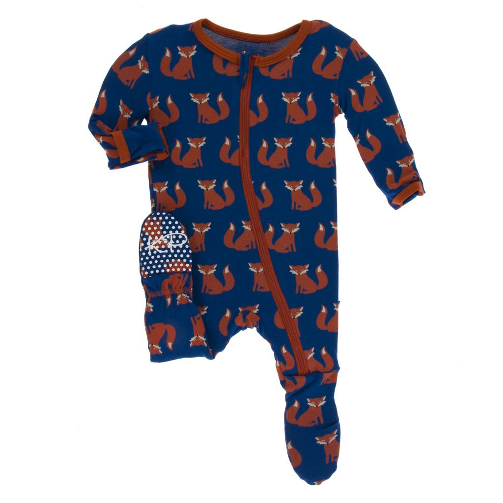 Kickee Pants Navy Fox Footie