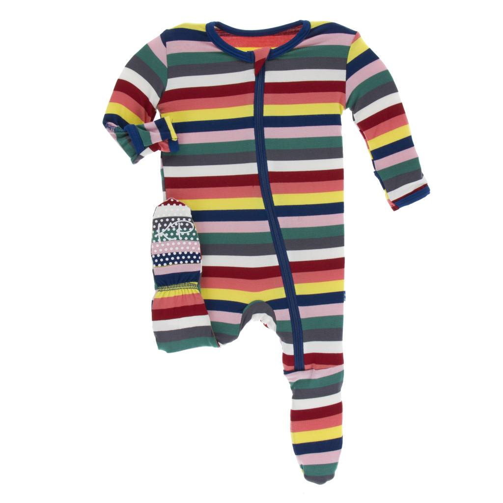 Kickee Pants Bright London Stripe Footie