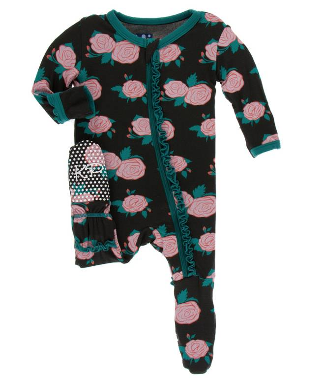 Kickee Pants English Rose Garden Ruffle Footie