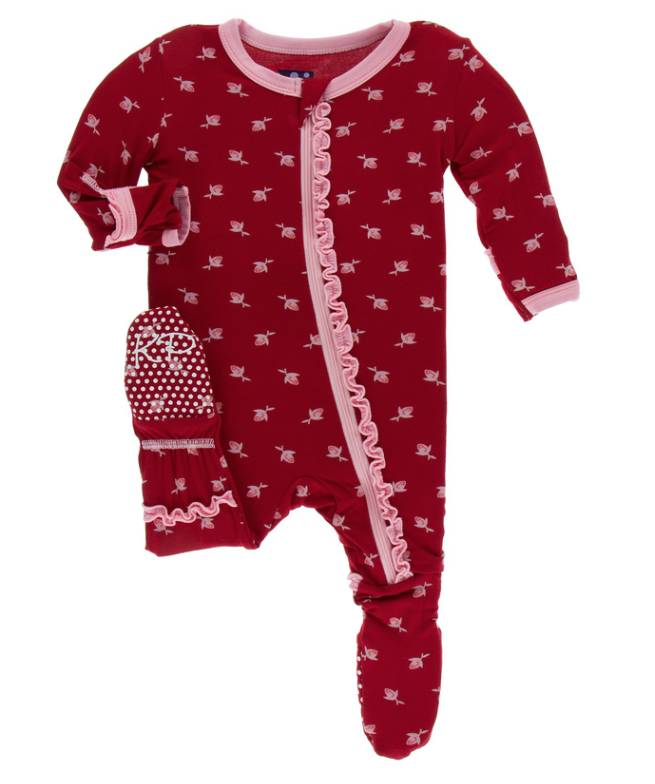 Kickee Pants Candy Apple Rose Bud Ruffle Footie