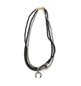 Shereen de Rousseau Onyx and Pyrite Necklace with Diamond Charms