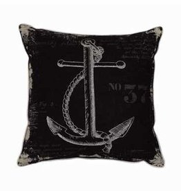 Black and White Anchor Pillow