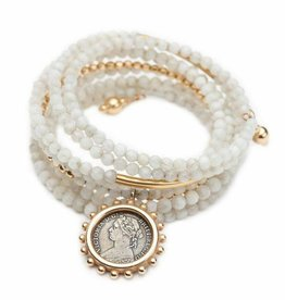 Shereen de Rousseau Gold and Moonstone Wrap Bracelet