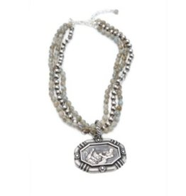 Shereen de Rousseau Two Stranded Necklace with a Charm