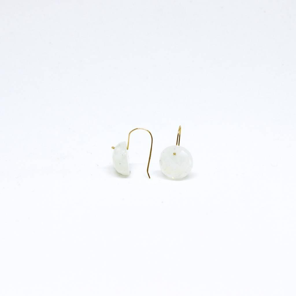 Bruml Design Moonstone - Rhudilated Quartz Round Facet Earring