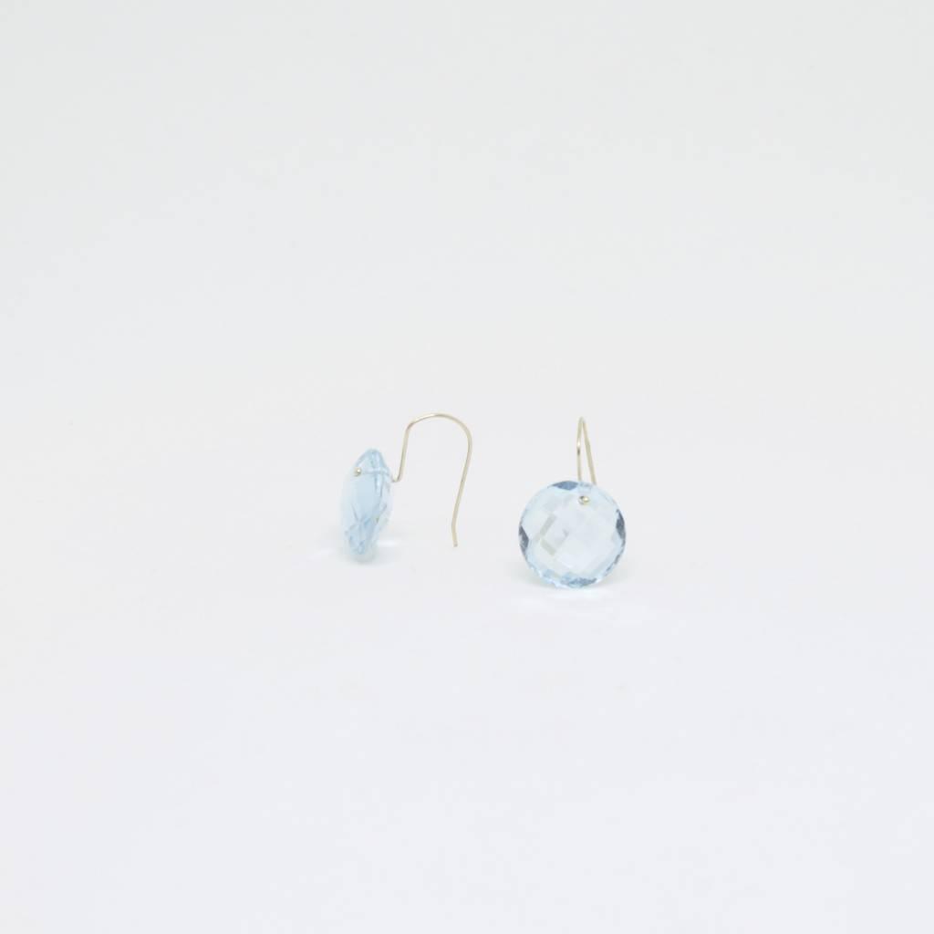 Bruml Design Blue Topaz - Rhudilated Quartz Round Facet Earring
