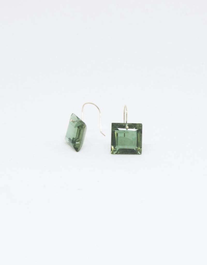 Bruml Design Green Tourmaline Square Flat Earring