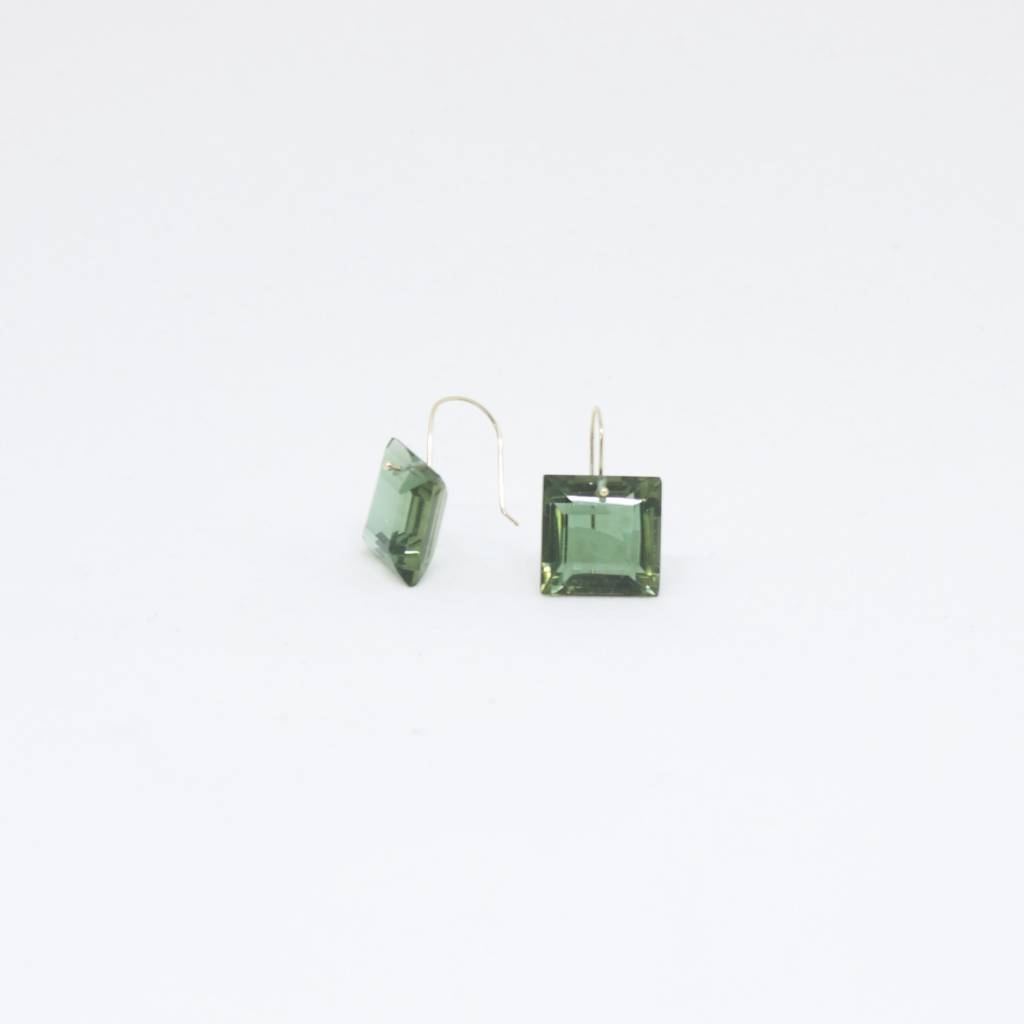 Bruml Design Green Tourmaline Square Flat Earring