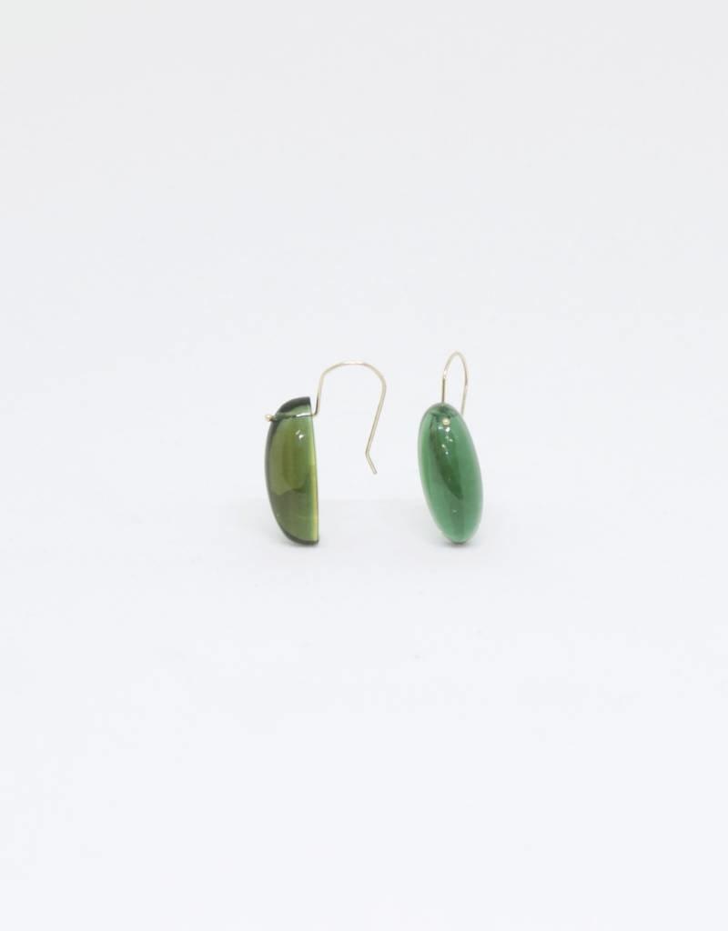 Bruml Design Green Quartz Cabochon Earring