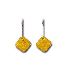 Himatsingka Abstract Gold Square Hook Earrings