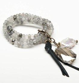 Canoe Grey Quartz 3 Strand Beaded Bracelet