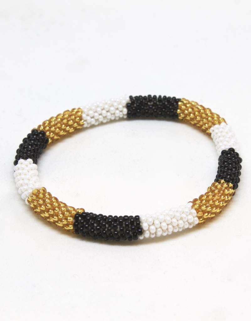 Aid Through Trade Gold, White and Black Bracelet - 4