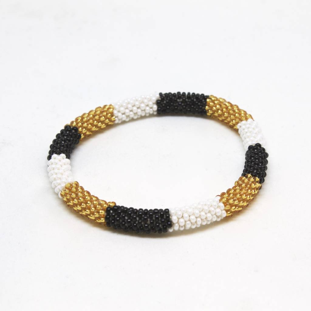 Aid Through Trade Gold, White and Black Bracelet - 4
