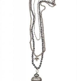 Shereen de Rousseau Three Strand Necklace with Charms