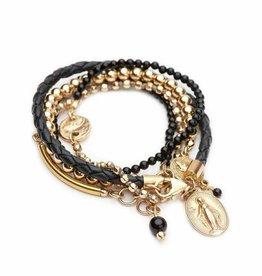 Shereen de Rousseau Leather Wrap Bracelet with Charms