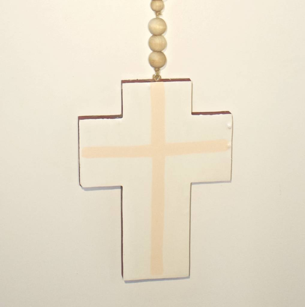 Entouquet Two Sided Ox Blood and Orange with White Cross on Ball Hanging - Medium