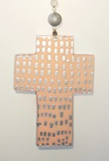 Entouquet Two Sided Peach Sorbet with Silver Dot and Silver Cross on Ball Hanging - Medium